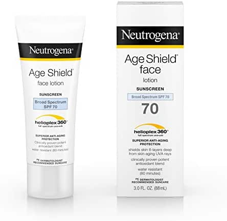 Neutrogena Age Shield Anti-Oxidant Face Lotion Sunscreen with Broad Spectrum SPF 70, Oil-Free & Non-Comedogenic Moisturizing Sunscreen to Prevent Signs of Aging, 3 fl. oz (Pack of 3)