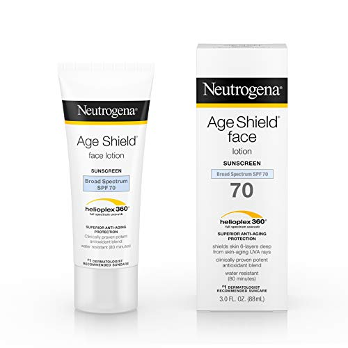 Neutrogena Age Shield Anti-Oxidant Face Lotion Sunscreen with Broad Spectrum SPF 70, Oil-Free & Non-Comedogenic Moisturizing Sunscreen to Prevent Signs of Aging, 3 fl. oz