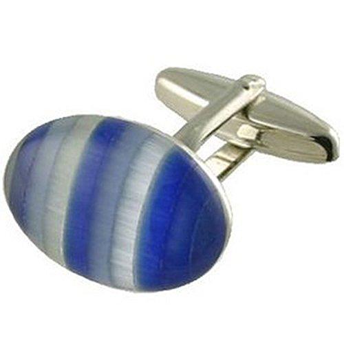 Boutons de manchette Bleu Boutons de manchette pour lui ~ Designer Humbug Bleu Cufflinks Select Pouch cadeau