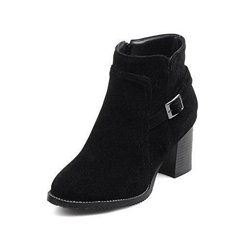 Balamasa Dames Dikke Hak Gesp Rits Frosted Boots Zwart