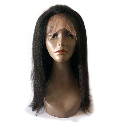 Enoya Hair Best Italian Yaki 360 Lace Frontal Wig Pre Plucked Brazilian Remy Lace Human Hair Wigs for Black Women 180 Density (12'')