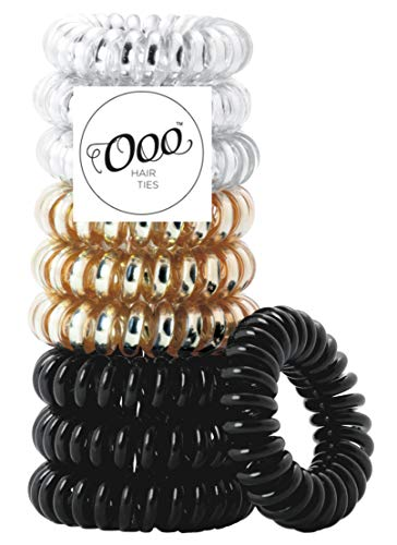 10 pack Painless PATENTED OOO Hair Ties. Ponytail holder spiral coil traceless rubber bands. for all types of hair. LARGE SIZE (Black,Gold,Silver) -