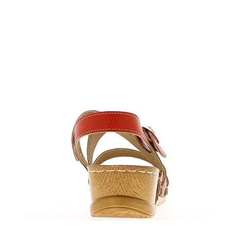 Sandales compensées rouges confort à talon de 5cm