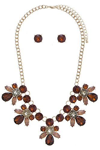 Foxtail Cluster (BAUBLES & CO FLORAL JEWELED CLUSTER BIB NECKLACE SET (Smoked Topaz))