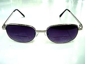 Bifocal gafas de sol gafas de lectura con suave caso grande plata marco de metal + 1,75
