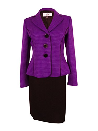 Le Suit Women's Monte Carlo Skirt Suit (12P, Amethyst/Black)
