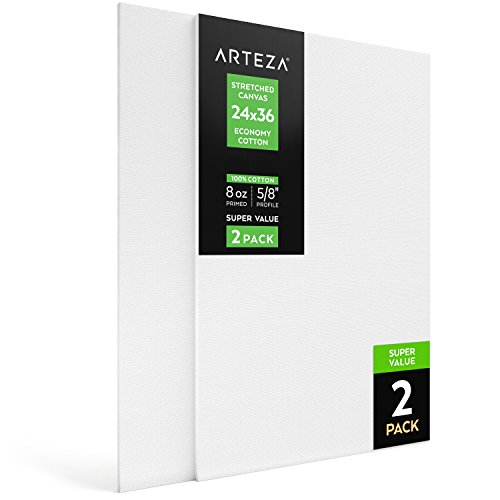 "Arteza 24x36"" Stretched White Blank Canvas, Bulk Pack of 2, Primed, 100% Cotton for Painting, Acrylic Pouring, Oil Paint & Wet Art Media, Canvases for Professional Artist, Hobby Painters & Beginner"