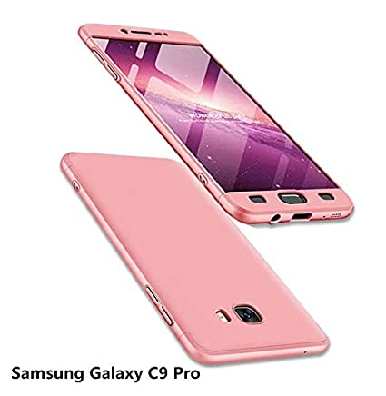 MISSDU reemplazo para Funda Samsung Galaxy C9 Pro y Protector de Pantalla de Vidrio Templado, Carcasa 3 in 1 360 Grados Rígida PC Protective Anti-rasguños Case, Oro Rosa: Amazon.es: Electrónica