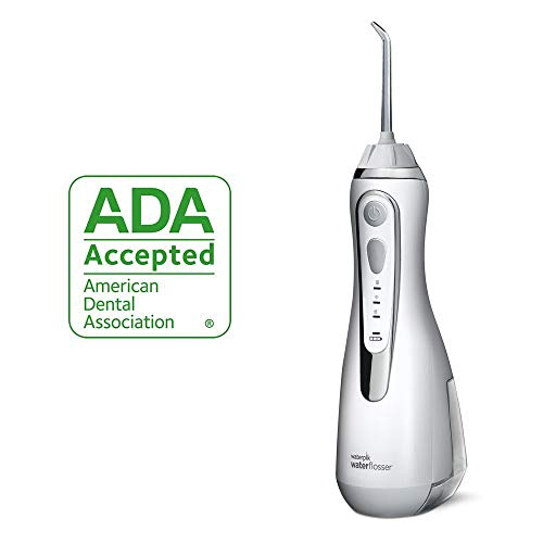 (Waterpik Cordless Water Flosser Rechargeable Portable Oral Irrigator For Travel And Home - Cordless Advanced, WP-560 White)