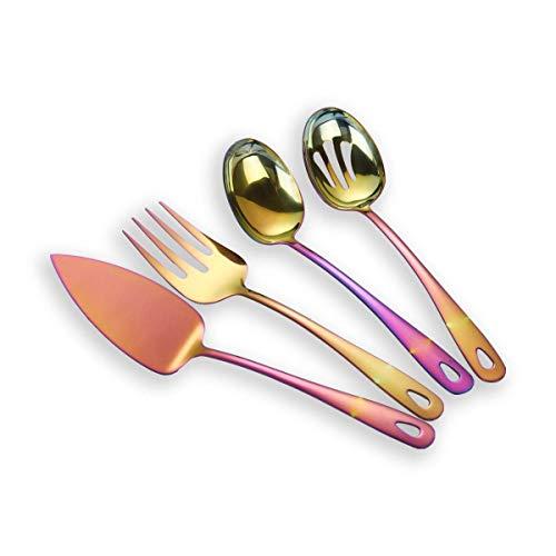 Berglander Stainless Steel Colorful Titanium Plated Flatware Serving Set 4 Pieces, Cake Server Cold Meat Fork Pierced Serving Spoon Serving Spoon, Rainbow Color Silverware Set (shiny, Rainbow)