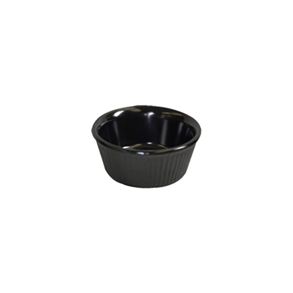 Thunder Group ML509BL1 Black 2 Ounce Round Fluted Ramekin - Dozen