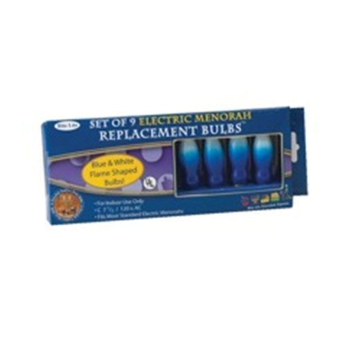 Rite-Lite Judaica Blue and White Flame-Shaped Electric Menorah Bulbs, Box 0f 9