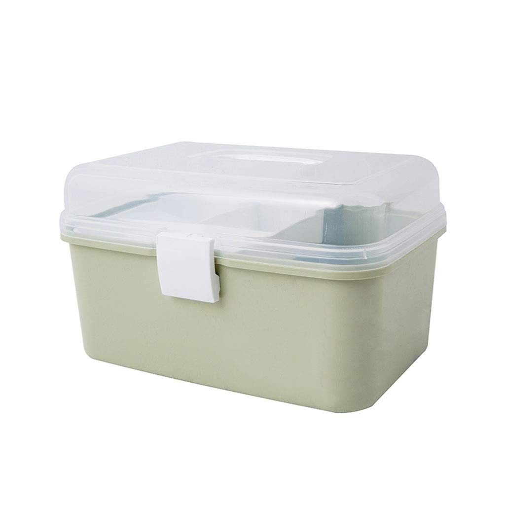 Medicine box Storage Box Desktop Bedroom Storage Box Portable Medicine Storage Box Home HUXIUPING (Color : Green)