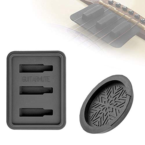 Kyuccfrs Acoustic Folk Guitar Sound Hole Rubber Round Cover Block Lid Square Mute Set - Black ()