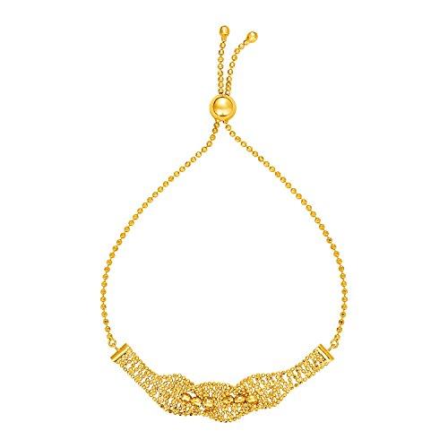 Textured Wavy Chain Motif Adjustable Bracelet in 14k Yellow Gold (Wavy Motif)