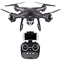 S70W FPV Drone Quadcopter with 1080P HD Wi-Fi Camera Live Video Feed 2.4GHz GPS for Kids & Beginners - Altitude Hold, One Key Start, Headless Mode,Colorful LED lights (Black)