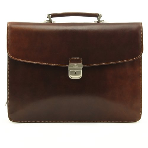 Tony Perotti Expandable Briefcase - Tony Perotti Italian Bull Massimo Bellini Double Compartment Leather Laptop Briefcase, Brown