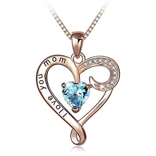 Mothers Birthday Gift I Love You Mom Rose Gold Plated Sterling Silver Heart Pendant Necklace for Women