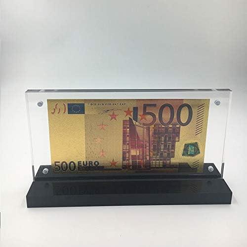 HENGTONGTONGXUN PET素材ユーロ紙幣50ビルは素敵なアクリルフレームとの結婚式のリターンの贈り物お金のために24K金に浸し 使いやすい (色 : Euro500 with frame)