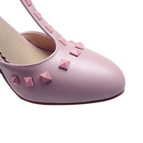 Amoonyfashion Womens Pu Solide Boucle Ronde Fermé Orteils Talons Hauts Pompes Chaussures Rose