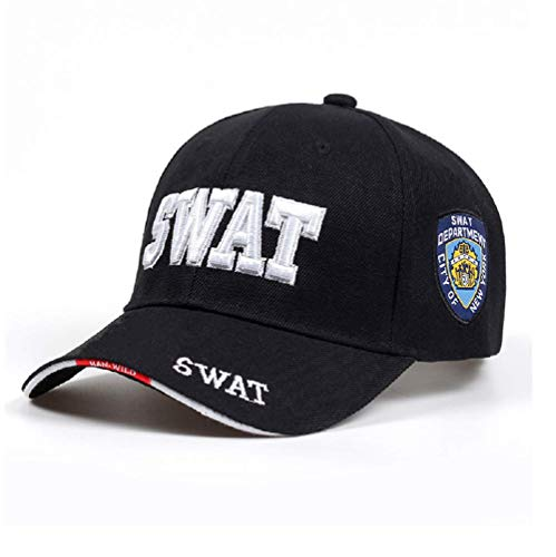 Swat Cap for Party Time Costume Halloween Unisex Adult Deluxe Embroidered Law Enforcement Caps York City Police Department Adjustable White ()