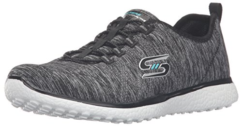 Skechers Sport Women's Microburst on The Edge Fashion Sneaker,Black/White,9.5 M US (Edge Skechers)