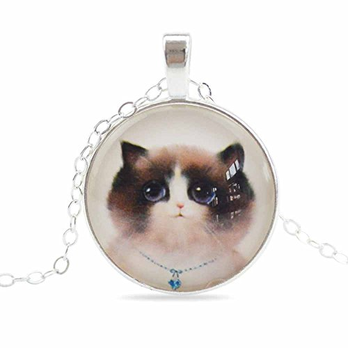 Cute Cat Blue Collar Glass Cabochon Art Vintage Pendant Necklace Adjustable Link Chain 20-22 in ()