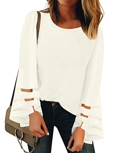 Vetinee Women's Beige Long Bell Sleeve Shirt Mesh Panel Blouse Crewneck Casual Loose Tops Medium (US 8-10)