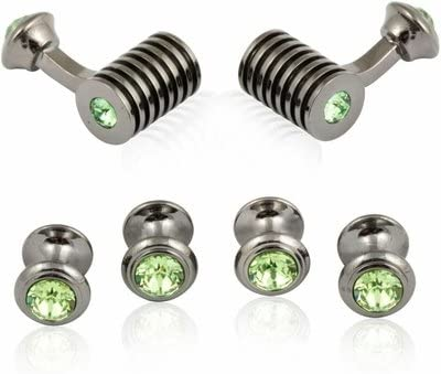 Gunmetal Cufflinks Peridot Swarovski Barrel Formal Set Green Cuff Links