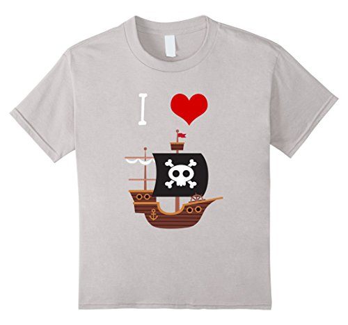 Kids I Love Pirate Ships T Shirt for Little Boys and Toddlers 4 Silver (Ahoy Matey Mens Adult Costume)