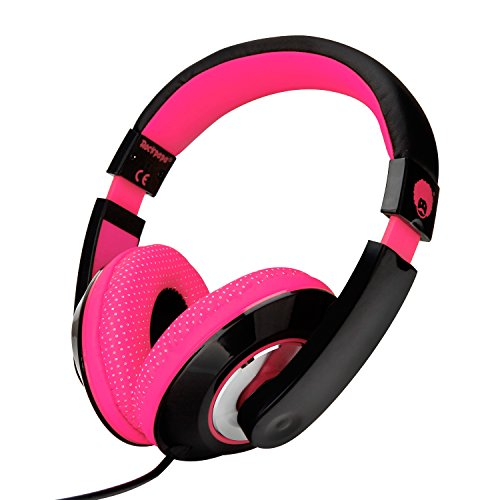 - RockPapa Over Ear Stereo Headphones Earphones for Adults Kids Childs, Noise Isolating, Adjustable, Heavy Deep Bass for iPhone iPod iPad Macbook Surface MP3 DVD SmartPhones Laptop (Black/Pink)