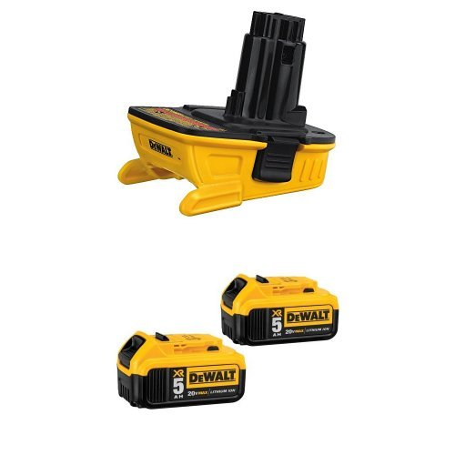 DEWALT DCA1820 Dewalt Battery Adapter for 18V Tools, 20V and DCB205-2 20V MAX XR 5.0Ah Lithium Ion Battery, 2-Pack by DEWALT