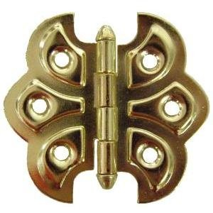 HB-92 BRASS PLATED BUTTERFLY HINGE - 2 PC/PACK + FREE BONUS (SKELETON KEY BADGE) Brass Plated Butt Hinges