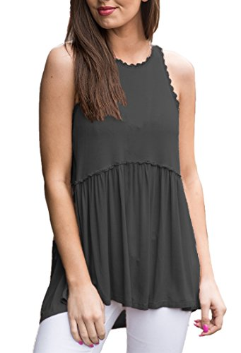 OURS Women's Solid Basic Long Tank T-Shirt Tunic(Black, XXL)