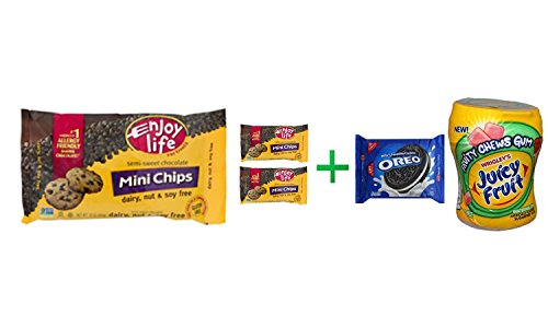 Enjoy Life Mini Chips Semi-Sweet Chocolate, 10.0 OZ( 3 PACK ) + OREO Cookies Sandwich Chocolate - 14.3 Oz + Fruity Chews Gum Watermelon 1/60 Count