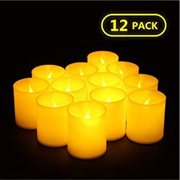 Furora LIGHTING Flameless LED Votives Candles - Battery Operated Tea Lights Candles with Realistic Flickering Flame - Pack of 12