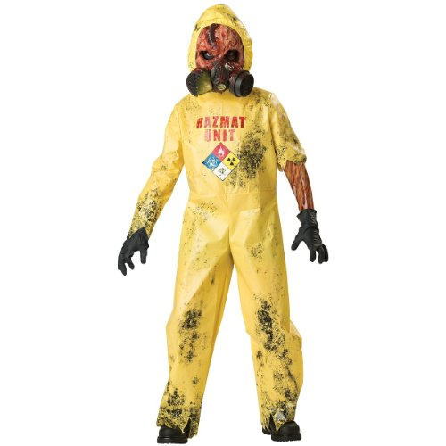 InCharacter Costumes, LLC Boys 8-20 Hazmat Hazard Jumpsuit, Yellow, Medium (Scary Costumes)