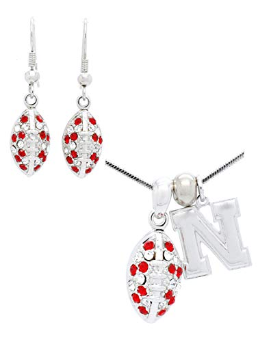 Violet Victoria & Fan Star Nebraska Football Necklace and Earring Set Mini - RED & Clear Crystals - Cornhuskers