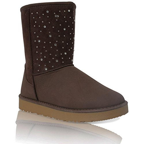 LINED WOMENS LADIES DIAMANTE BOOTS Brown SNUGG 3 WINTER SIZE ANKLE FUR FLAT SHOES FAUX t44fa