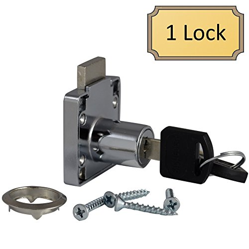 D.H.S. Office Desk Lock for Drawer & Door - 3/4' (.75') Bore - Polished Chrome - Keyed Alike - Includes Escutcheon Trim Ring, Strike, & Screws - 1 Lock