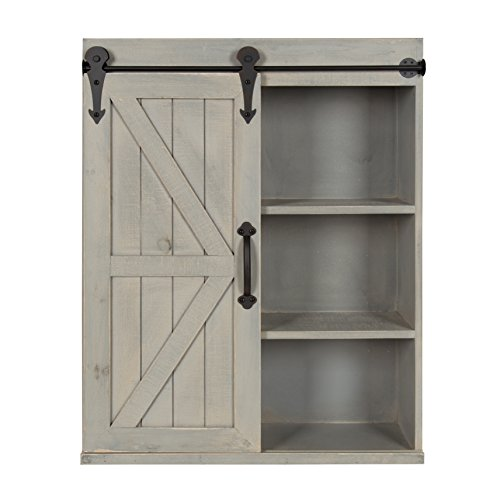 Kate and Laurel - Cates Wood Wall Storage Cabinet with Slidi