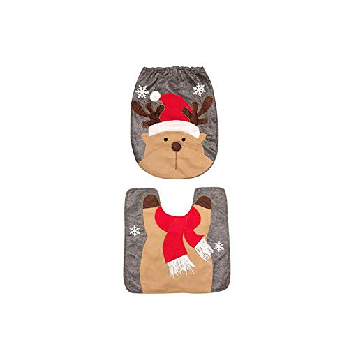 YaptheS 2 Pcs/Set Christmas Holiday Bathroom Elk Toilet Seat Cover and Rug for Home Decorations Christmas Gift