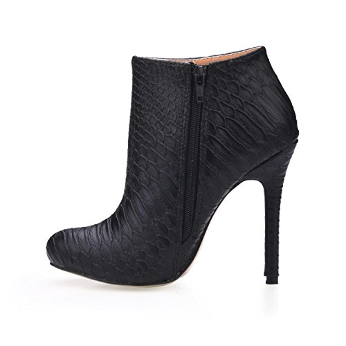 Best 4U? Women's Ankle Boots Serpentine Pattern 12CM High Heels Stiletto Rubber Sole Round Toe Zipper Autumn Winter Shoes Black 61Qxr
