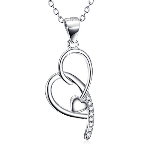 - 925 Sterling Silver Crystal CZ Gem Open Heart Necklace Jewelry Forever Love 18
