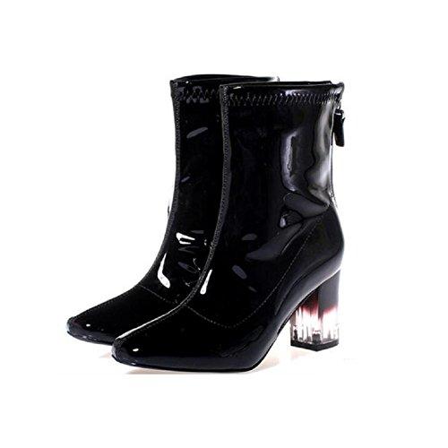 Tubo grosso tacchi stivali moda inverno olio pelle chiara elasticizzato tacco alto Bootie , 38