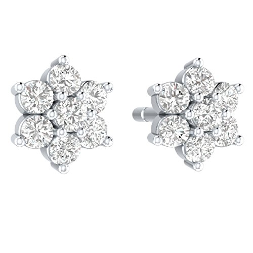 Demira Jewels IGI Certified Natural Diamond Cluster Earrings Stud 10k White Gold (1/4 cttw, I-J Color, I3 Clarity) ()