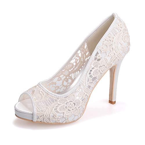 nozze classici promenade Ladies sera di Tacchi alti tacco di Peep pompe Dress Avorio da Sandali scarpe Toe Zxstz piattaforma con 0UBw66