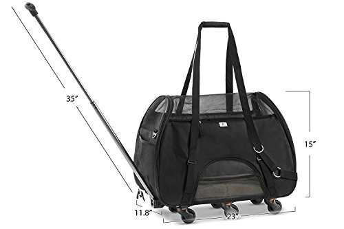 WPS Wheeled Airline Approved Pet Carrier for Small Pets. Newly Upgraded Structural Design For Ultimate Strength.Removable Plush Mat. Cozy, Compact and Durable 19