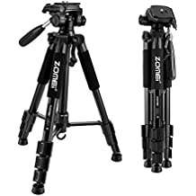 """ZOMEI 55"""" Compact Light Weight Travel Portable Folding SLR Camera Tripod for Canon Nikon Sony DSLR Camera with Carry Case(black)"""