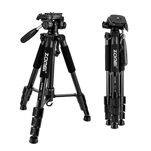 ZOMEI 55' Compact Light Weight Travel Portable Folding SLR Camera Tripod for Canon Nikon Sony DSLR Camera Video with Carry Case(Black)